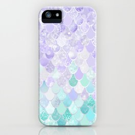 Mermaid Iridescent Purple and Teal Pattern iPhone Case