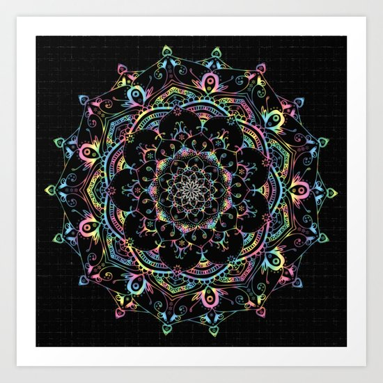 Transcendental Dream Coloured Mandala Design Art Print