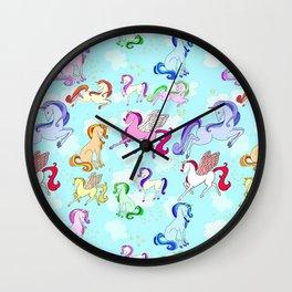 Unicorns repeating pattern Wall Clock