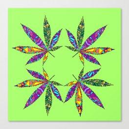 Patchwork Pot Leaves Canvas Print