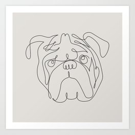 One Line English Bulldog Kunstdrucke