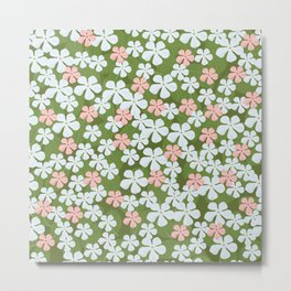 Tiny Little Daisies - Mid Century Inspired Flower Pattern Metal Print