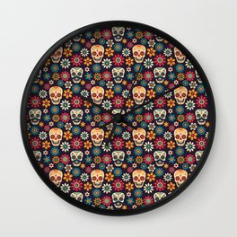 Day Of The Dead Pattern | Dia De Los Muertos Skull Wall Clock