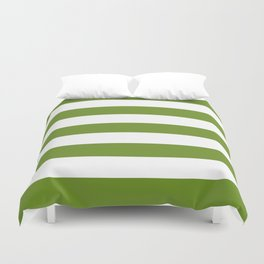 Olive Drab (#3) - solid color - white stripes pattern Duvet Cover