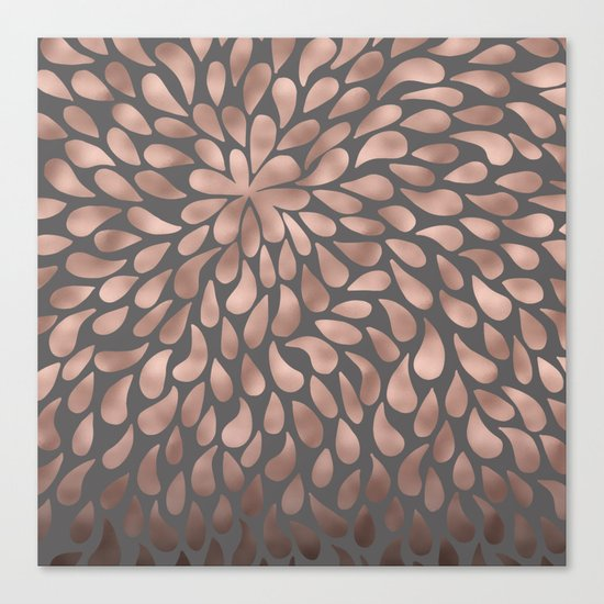 Rosegold- abstract floral elegant pattern on grey background Canvas Print
