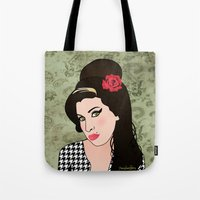 amy hamilton Tote Bags featuring Amy  by Pendientera