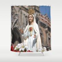 madonna Shower Curtains featuring Madonna by Frau Fruechtnicht