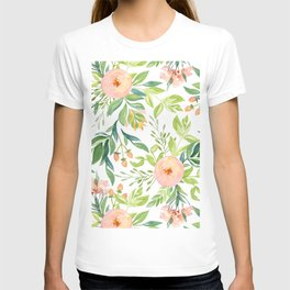 Happy Coral Pink + Green Rose Garden T-shirt