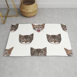 Cute Cat Head Pattern white background Rug