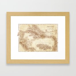 Map of West Indies 1854 Framed Art Print