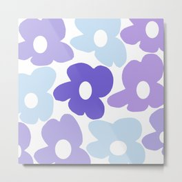 Large Purple Retro Flowers White Background #decor #society6 #buyart Metal Print