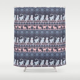 Fair Isle Knitting Cats Love // purple white and pink kitties Shower Curtain