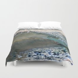 Sea Turtles In The Waves (Disappearing or Camouflage Artwork) Duvet Cover