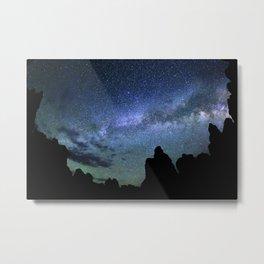 Milky Way Mountains Silhouette Metal Print