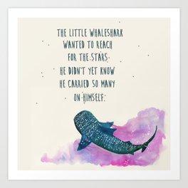 little whaleshark between stars Art Print