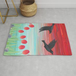 crows, tulips, & snails Rug