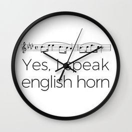I speak english horn Wall Clock