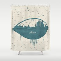 moscow Shower Curtains featuring Frozen Moscow by Paula Belle Flores