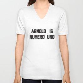 Arnold Is Numero Uno Mens Ringer Retro Birthday T-Shirts Unisex V-Neck
