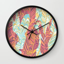 Modern abstract pink teal yellow hand painted bohemian feathers Wall Clock
