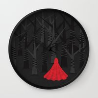 red riding hood Wall Clocks featuring Red Riding Hood by Imagonarium