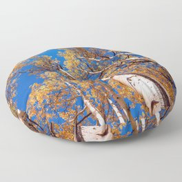 Aspen Trees Against The Sky In Crested Butte, Colorado Floor Pillow