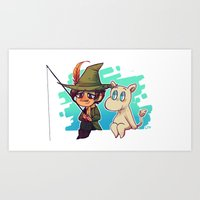 moomin Art Prints featuring Moomin Fishin' by lemonteaflower