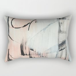 Sweet Tart: a minimal abstract mixed-media piece in pink black and white by Alyssa Hamilton Art Rectangular Pillow