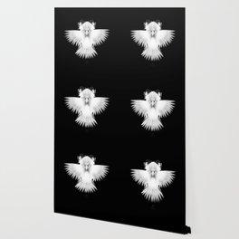 Strange Hummingbird 1.White on black background. Wallpaper