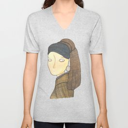 The Girl With The Pearl Earring Unisex V-Neck