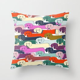 colored doggie pattern Throw Pillow
