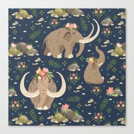 Cute mammoths Canvas Print