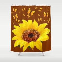 COFFEE BROWN YELLOW SUNFLOWER & BUTTERFLIES Shower Curtain