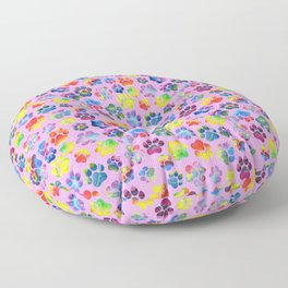 Pink and Rainbow Pawprint Pattern Floor Pillow