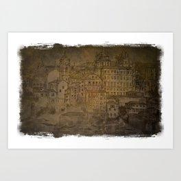 Old Sketch of Porto Art Print