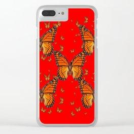 ORANGE MONARCH BUTTERFLIES RED MODERN ART MONTAGE Clear iPhone Case