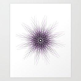 Purple minimal dandelion like mandala Art Print