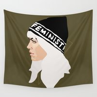 feminist Wall Tapestries featuring Feminist (Gold) by Anna McKay