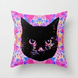 Glitch Streak Quad Cat Throw Pillow