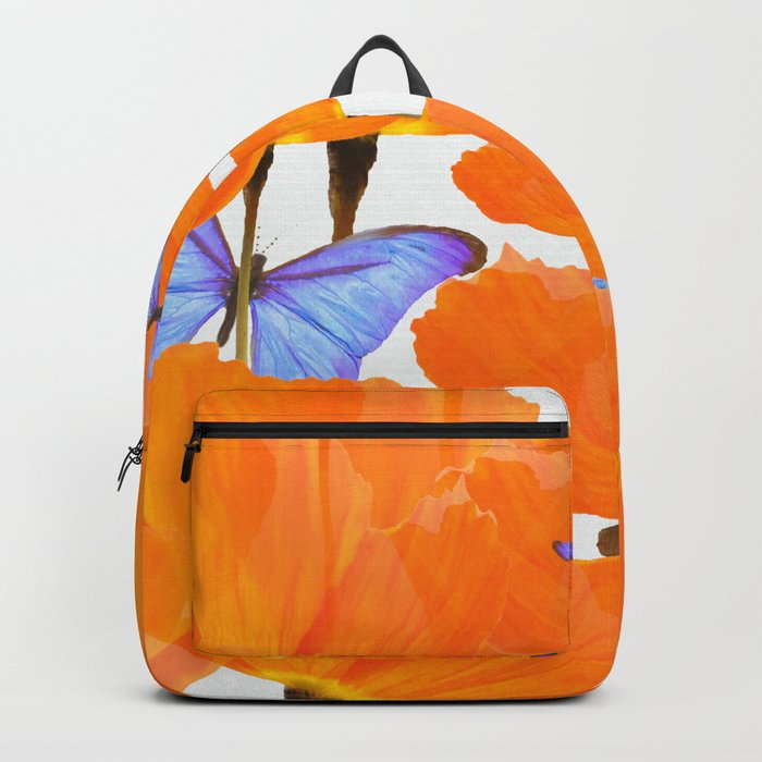 Poppies And Butterflies White Background #decor #society6 #buyart Backpack