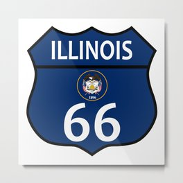 Route 66 Illinois Sign And Flag Metal Print