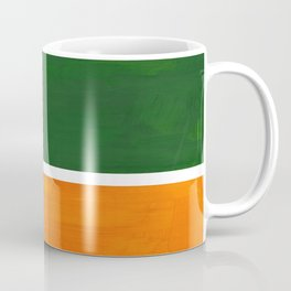 Forest Green Yellow Ochre Mid Century Modern Abstract Minimalist Rothko Color Field Squares Coffee Mug