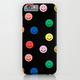Smiley faces black happy simple rainbow colors pattern smile face kids nursery boys girls decor iPhone Case