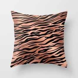Rose Gold Metallic Stylish Tiger Fur Stripes Print Throw Pillow