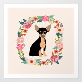 chihuahua black and tan floral wreath flowers dog breed gifts Art Print