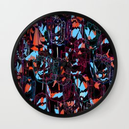 Floral abstract(50). Wall Clock