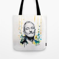 murray Tote Bags featuring Bill Murray by Denise Esposito