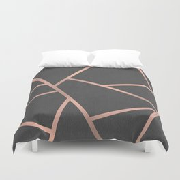 Dark Grey and Rose Gold Textured Fragments - Geometric Design Duvet Cover