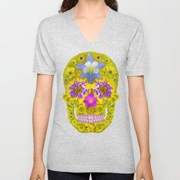 Flower Skull 3 Unisex V-Neck