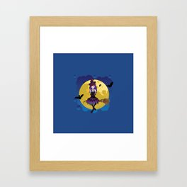 Full moon and witch Framed Art Print